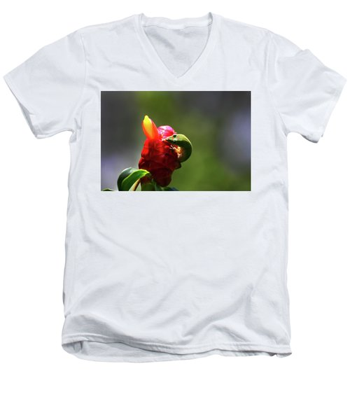 Men's V-Neck T-Shirt featuring the photograph Gecko #2 by Anthony Jones