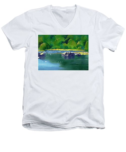 Geese On The Rappahannock Men's V-Neck T-Shirt