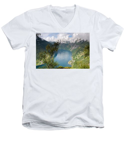 Geirangerfjord With Birch Men's V-Neck T-Shirt