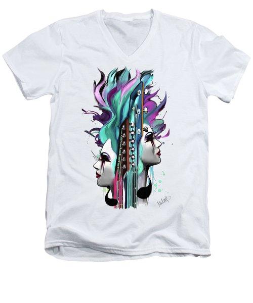 Gemini Men's V-Neck T-Shirt by Melanie D