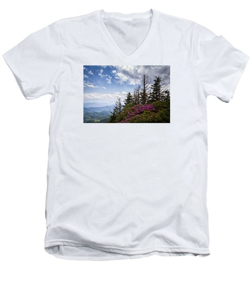 Rhododendrons - Roan Mountain Men's V-Neck T-Shirt