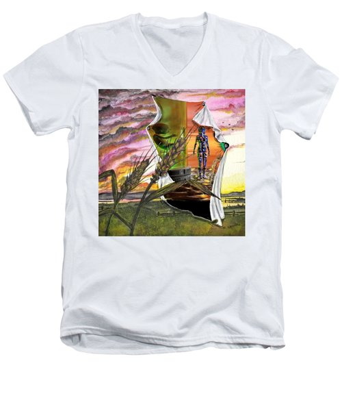 Men's V-Neck T-Shirt featuring the digital art Genetically Modified by Darren Cannell