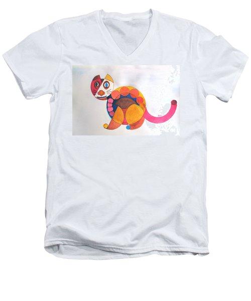 Geometric Cat Men's V-Neck T-Shirt