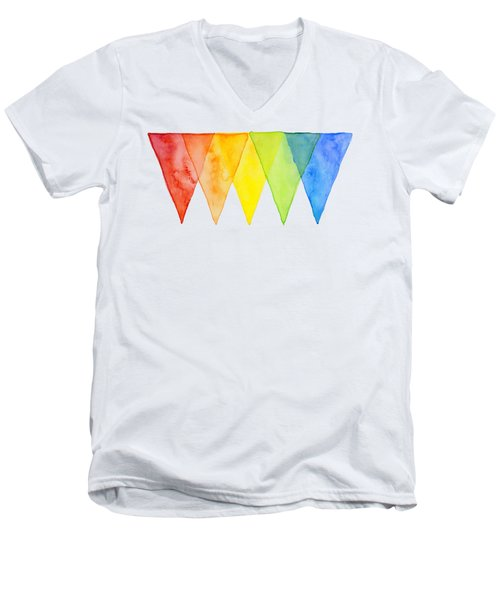 Geometric Watercolor Pattern Rainbow Triangles Men's V-Neck T-Shirt