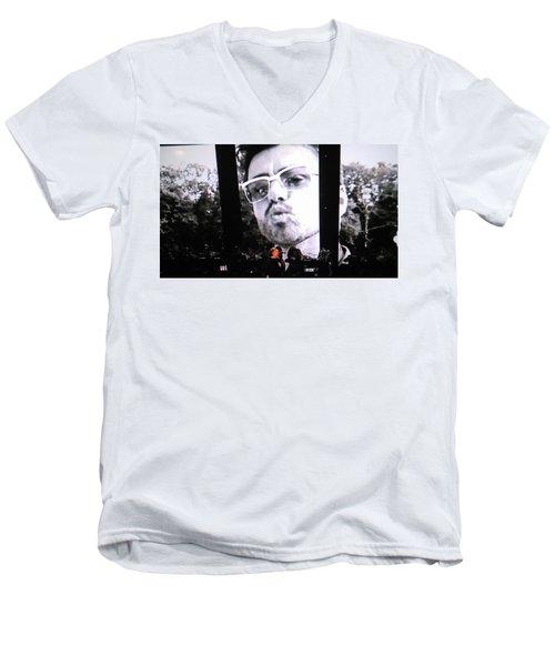George Michael Sends A Kiss Men's V-Neck T-Shirt by Toni Hopper
