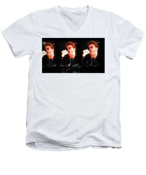George Michael The Passionate Performer Men's V-Neck T-Shirt by Toni Hopper