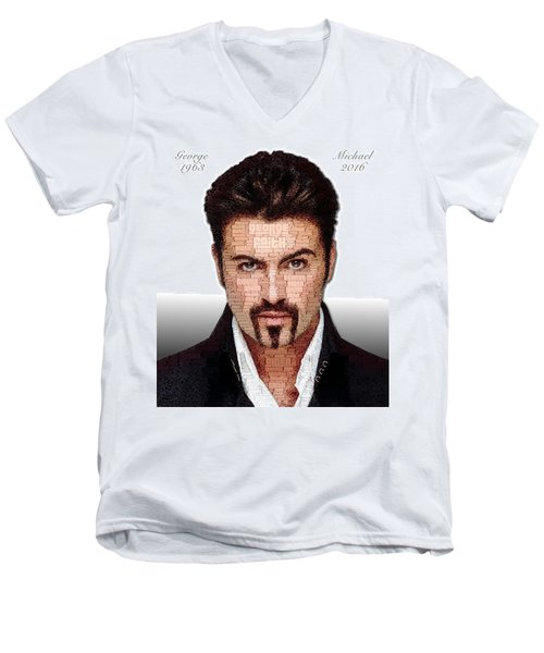 George Michael Tribute Men's V-Neck T-Shirt by ISAW Gallery