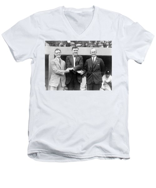 Men's V-Neck T-Shirt featuring the photograph George Sisler - Babe Ruth And Ty Cobb - Baseball Legends by International  Images