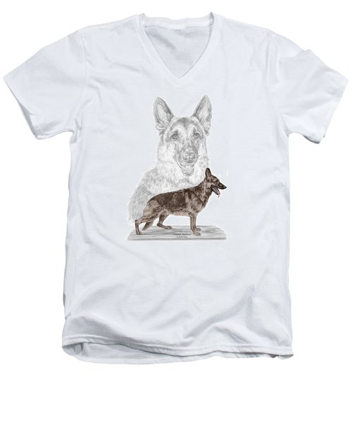 Men's V-Neck T-Shirt featuring the drawing German Shepherd Art Print - Color Tinted by Kelli Swan
