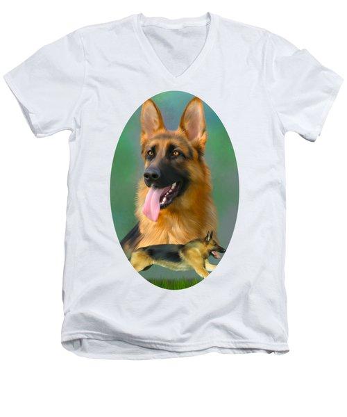 German Shepherd Breed Art Men's V-Neck T-Shirt