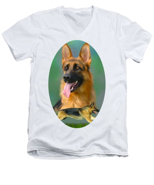 German Shepherd Breed Art Men's V-Neck T-Shirt