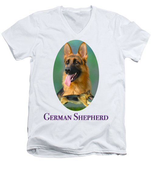 German Shepherd With Name Logo Men's V-Neck T-Shirt