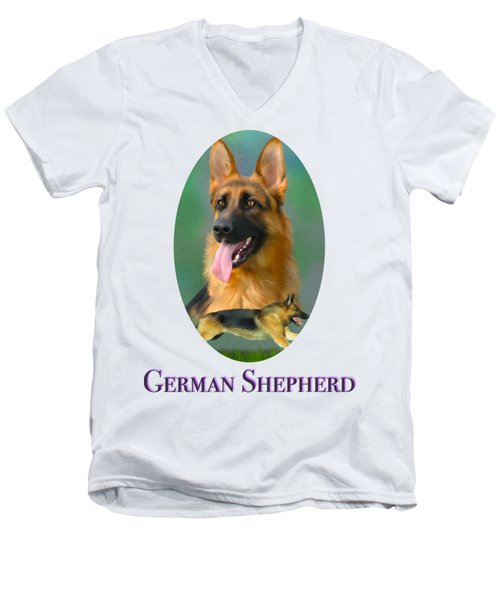German Shepherd With Name Logo Men's V-Neck T-Shirt