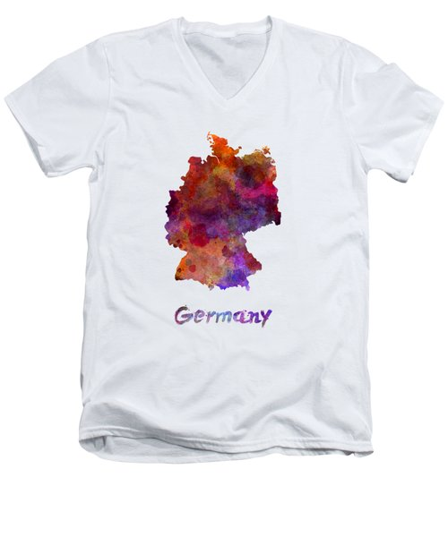 Germany In Watercolor Men's V-Neck T-Shirt by Pablo Romero