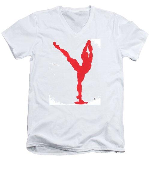 Gesture Brush Red 1 Men's V-Neck T-Shirt by Shungaboy X