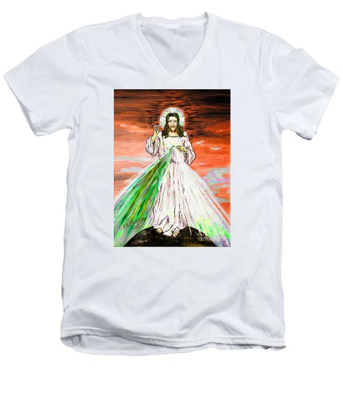 Men's V-Neck T-Shirt featuring the painting Gesu' by Loredana Messina