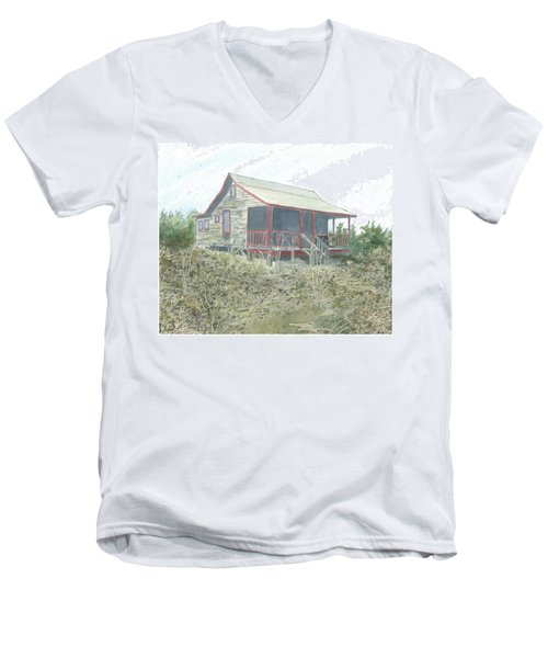 Men's V-Neck T-Shirt featuring the painting Get Away Cottage by Joel Deutsch