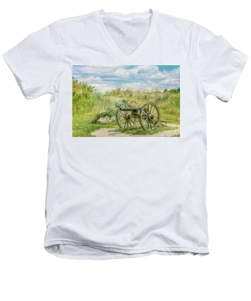 Men's V-Neck T-Shirt featuring the digital art Gettysburg Battlefield Cannon Ver Two by Randy Steele