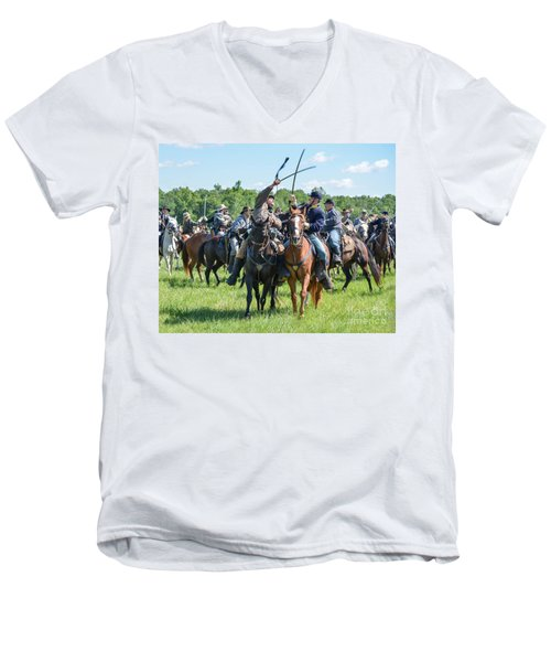 Gettysburg Cavalry Battle 7992c  Men's V-Neck T-Shirt