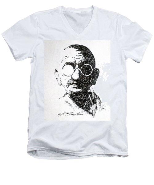 Ghandi Men's V-Neck T-Shirt