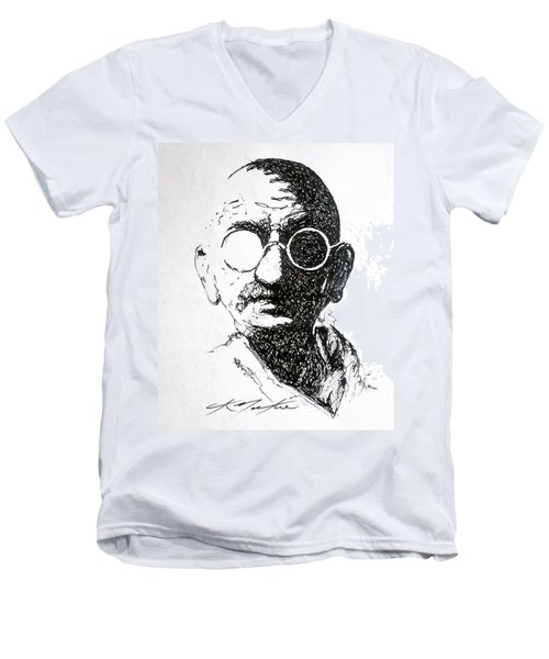 Ghandi Men's V-Neck T-Shirt