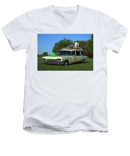 1959 Cadillac Ghostbusters Ambulance Replica Men's V-Neck T-Shirt