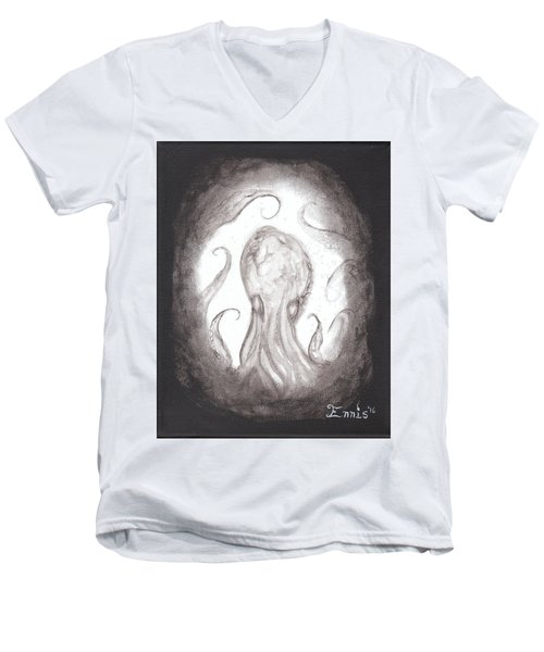 Men's V-Neck T-Shirt featuring the painting Ghostopus by Christophe Ennis