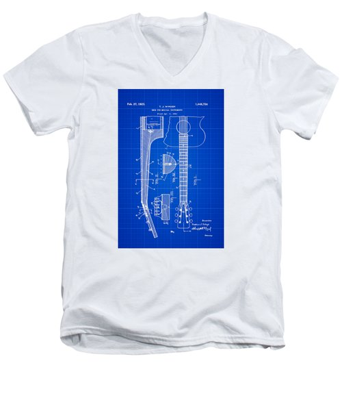Gibson Guitar Patent 1923 Blue Print Men's V-Neck T-Shirt