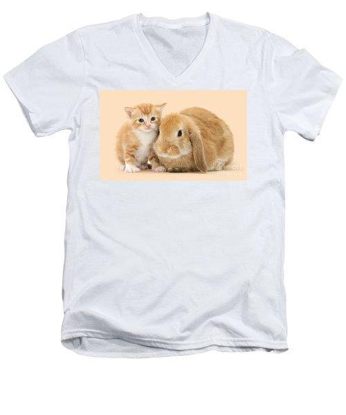 Ginger Kitten And Sandy Bunny Men's V-Neck T-Shirt