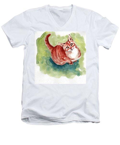 Ginger Tabby 8 Men's V-Neck T-Shirt