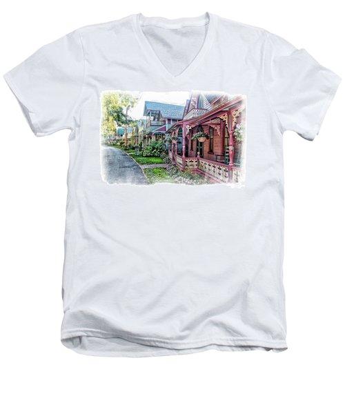 Gingerbread Row Men's V-Neck T-Shirt