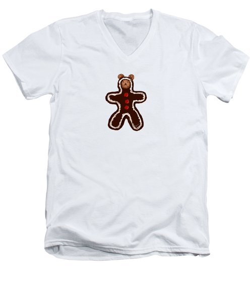 Gingerbread Teddy Men's V-Neck T-Shirt by Jean Pacheco Ravinski