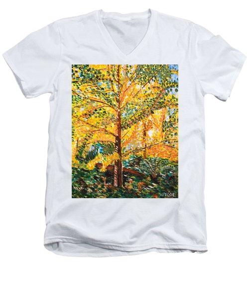 Gingko Tree Men's V-Neck T-Shirt by Valerie Ornstein