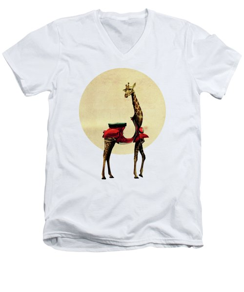 Giraffe Men's V-Neck T-Shirt by Ali Gulec