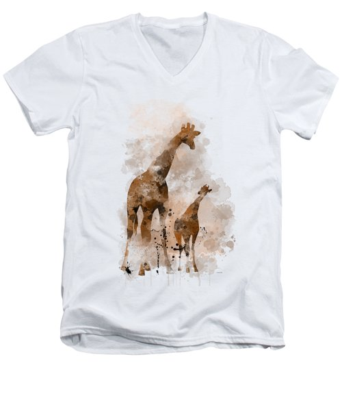Giraffe And Baby Men's V-Neck T-Shirt by Marlene Watson