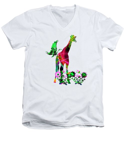 Giraffe And Flowers3 Men's V-Neck T-Shirt