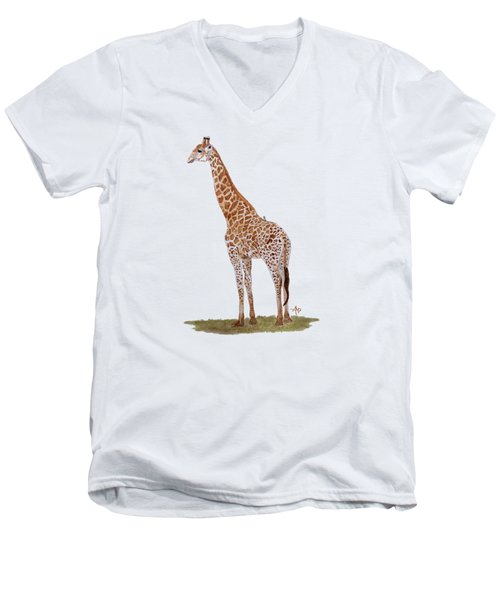 Giraffe Men's V-Neck T-Shirt by Angeles M Pomata