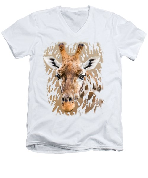 Giraffe Clothing And Wall Art Men's V-Neck T-Shirt by Linsey Williams