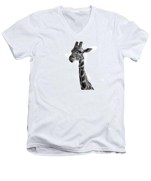 Giraffe In Black And White Men's V-Neck T-Shirt