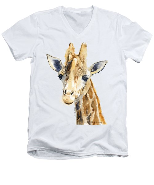 Giraffe Watercolor Men's V-Neck T-Shirt by Melly Terpening