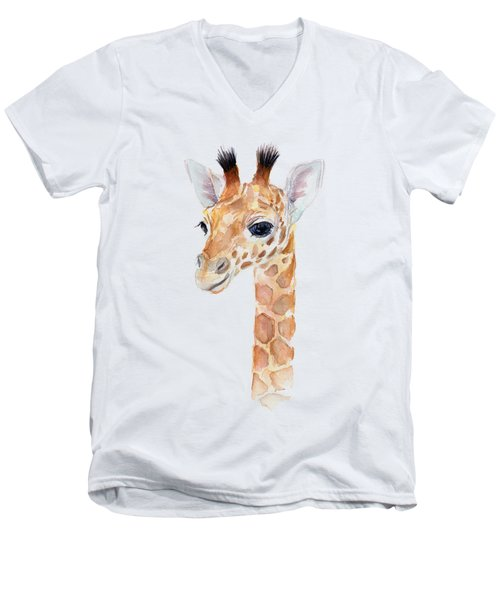 Giraffe Watercolor Men's V-Neck T-Shirt by Olga Shvartsur