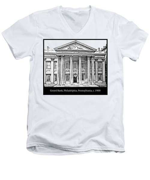Men's V-Neck T-Shirt featuring the photograph Girard Bank Building Philadelphia C 1900 Vintage Photograph by A Gurmankin