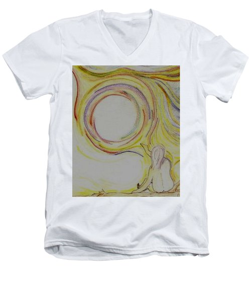 Girl And Universe Creative Connection Men's V-Neck T-Shirt