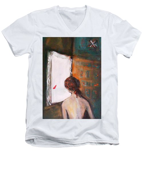 Men's V-Neck T-Shirt featuring the painting Girl At The Window by Winsome Gunning