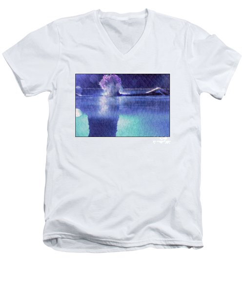 Girl In Pool At Night Men's V-Neck T-Shirt by Michael Edwards