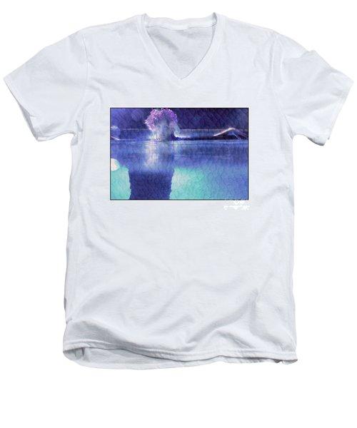 Girl In Pool At Night Men's V-Neck T-Shirt