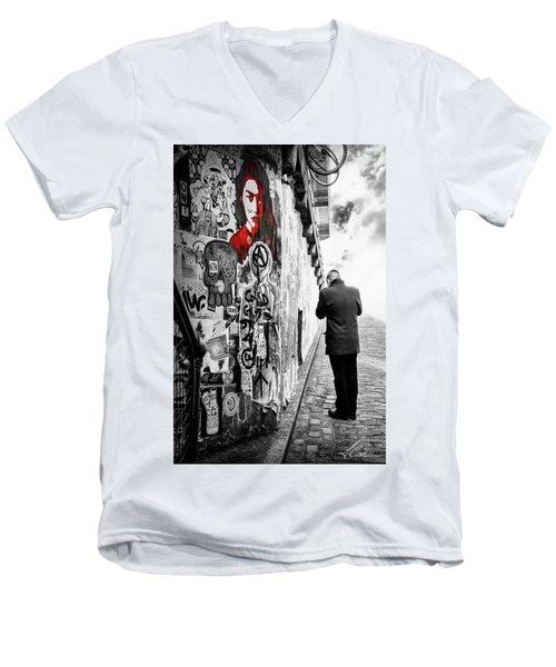 Girl In Red Men's V-Neck T-Shirt