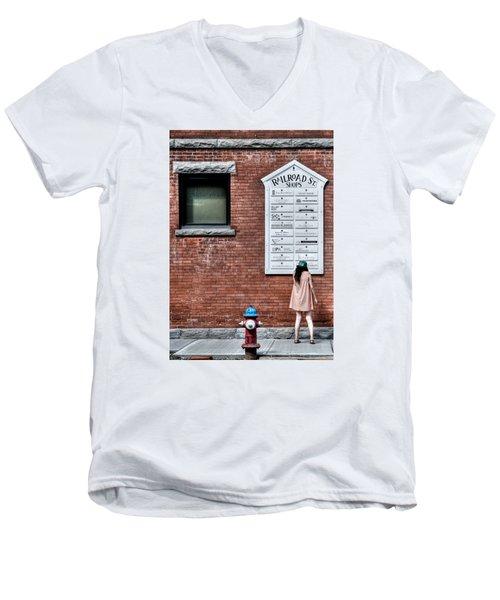 Walking On Railroad Street No. 3 - The Girl In The Polka Dot Dress Men's V-Neck T-Shirt