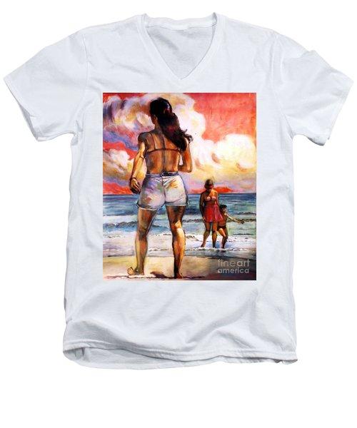 Girl On The Beach Men's V-Neck T-Shirt