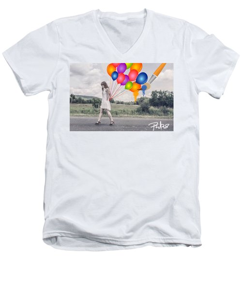 Girl Walking With Ballons #1 Men's V-Neck T-Shirt by Diana Riukas